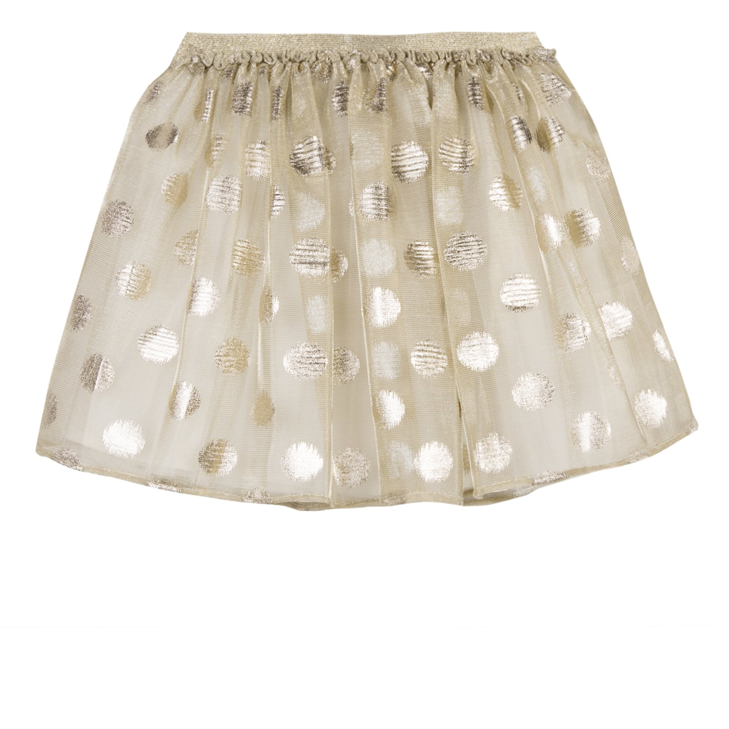 Girls Polka Dot Flared Gold Skirt