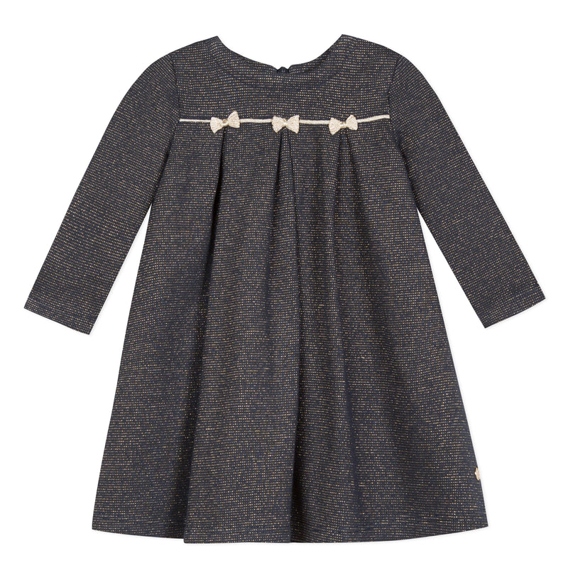 Girls Grey Navy Metallic Dress with Bows