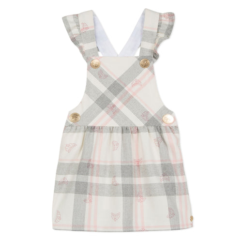 Girls Pink Plaid Jumper Dress