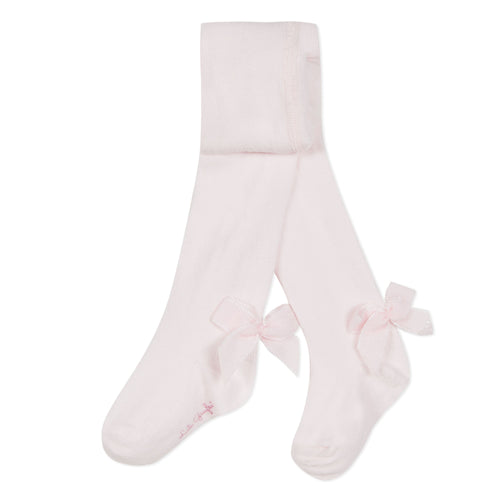 Girls Tights with Bows Rose Pink