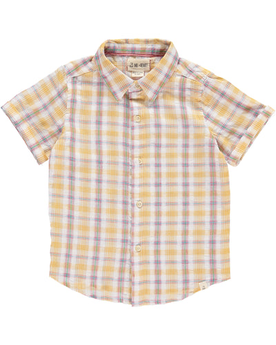 Boys Yellow Plaid Cotton Woven Shirt