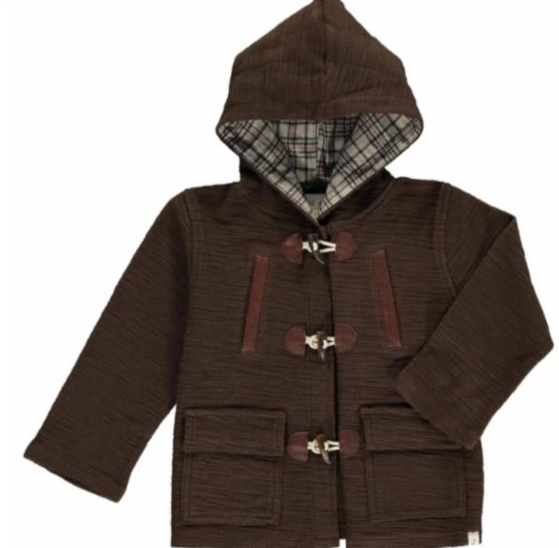 Boys Brown Hooded Coat