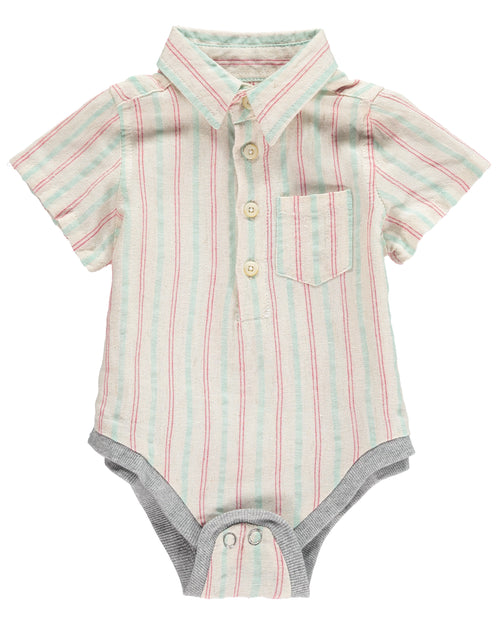 Baby Boys Green & Red Stripe Woven Onesie