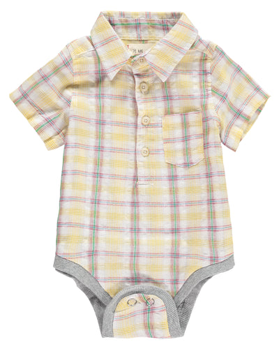 Baby Boys Yellow Plaid Cotton Woven Onesie