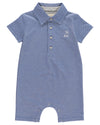 Baby Boys Blue Cotton Polo Romper