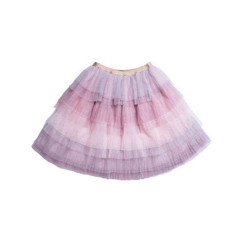 Knee lenght multi-layered tutu skirt with shads of pinks and purples designed by Imoga.