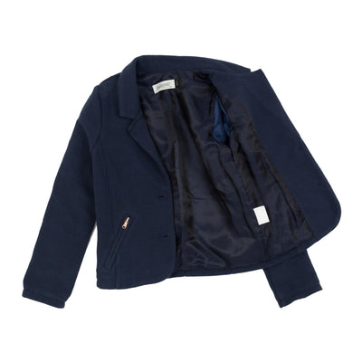 Jena Bourget navy blue mesh blazer is streaked with thin ribs. With two large buttons surrounded by copper edge