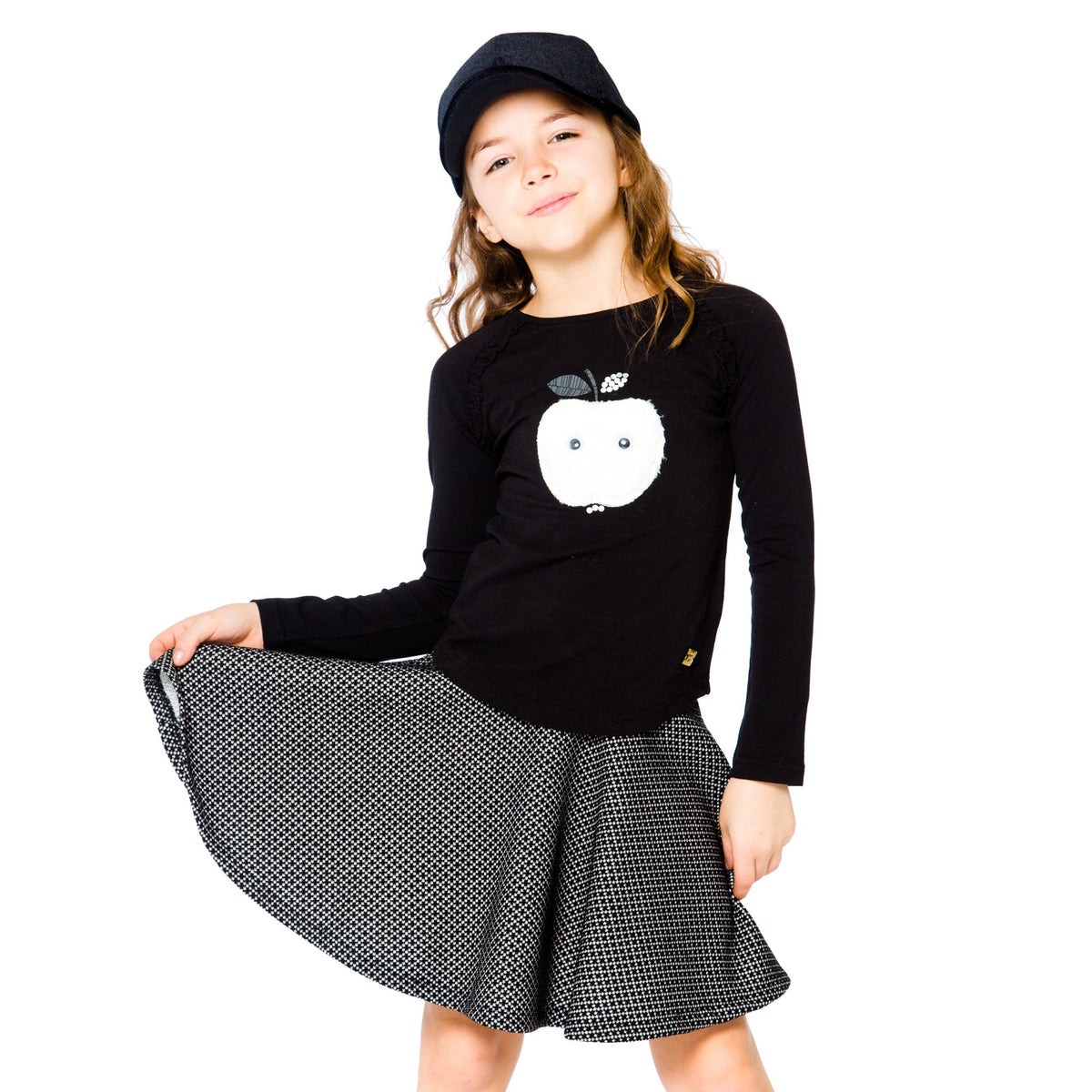 Girls Preppy Black Flouced Skirt