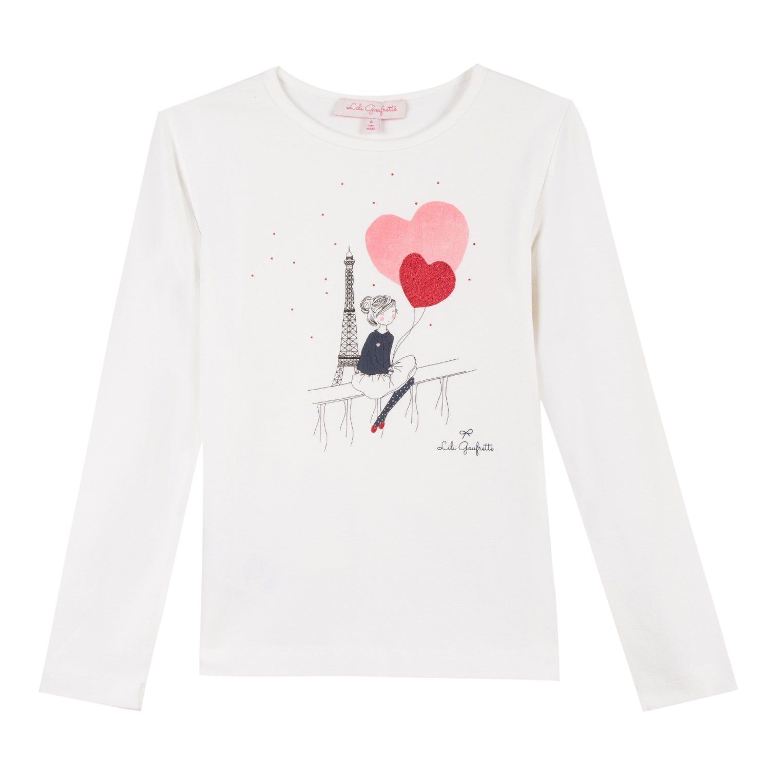 Girls Ivory Heart Balloon Graphic Long Sleeve