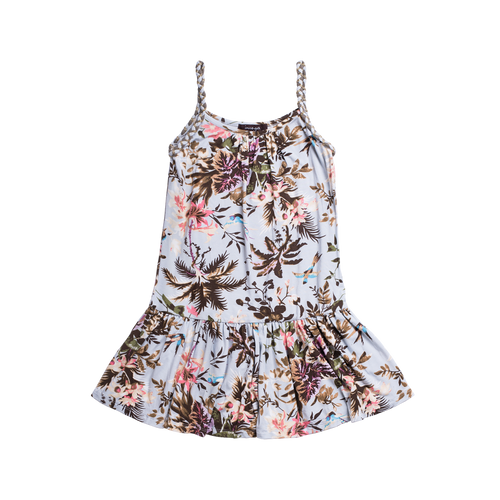 Girls tropical print summer dress with braided straps. Palm trees and hummingbirds are the main focus of this dress. Made with lightweight jersey material this dress is by Imoga.