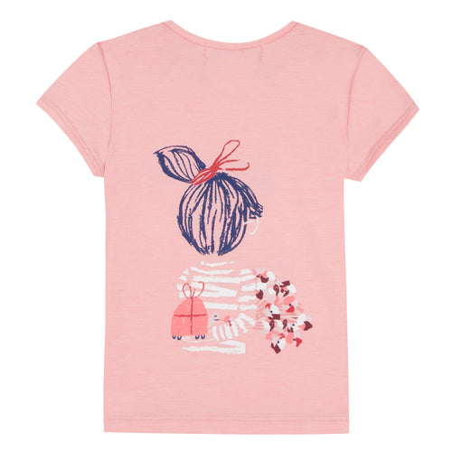 Jean Bourget short-sleeved cotton jersey T-shirt is printed with a pattern that extends into the back of a girl holding a bouquet of flowers in her hand.