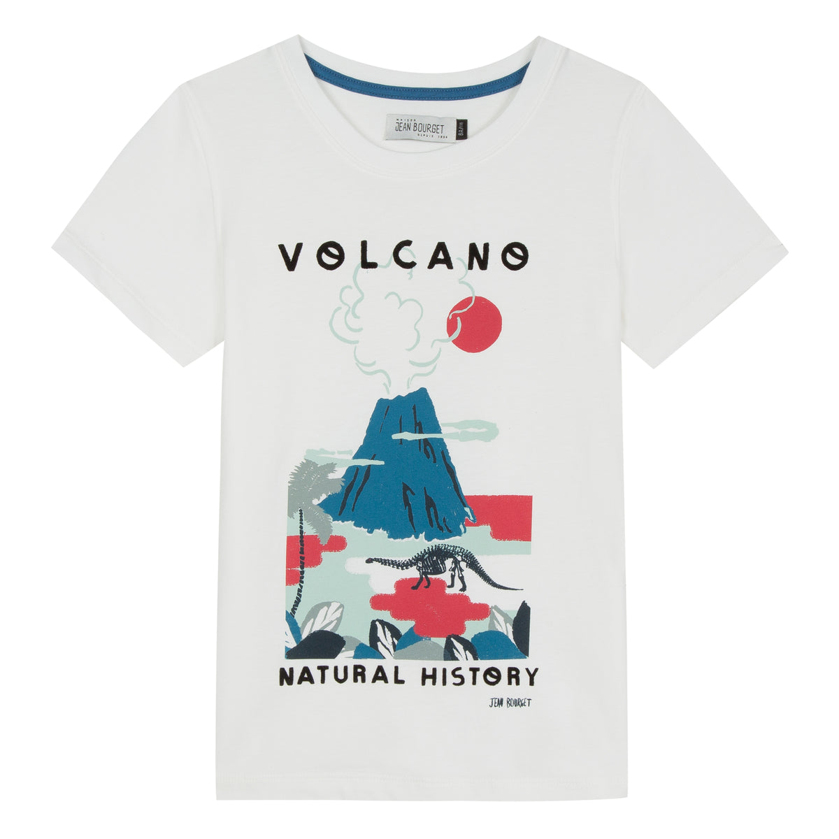 Very graphic, this short-sleeved tee-shirt in white cotton jersey invites a return to prehistory. A volcano is screen printed in cobalt blue in a red and blue gray decor. Shop Jean Bourget.
