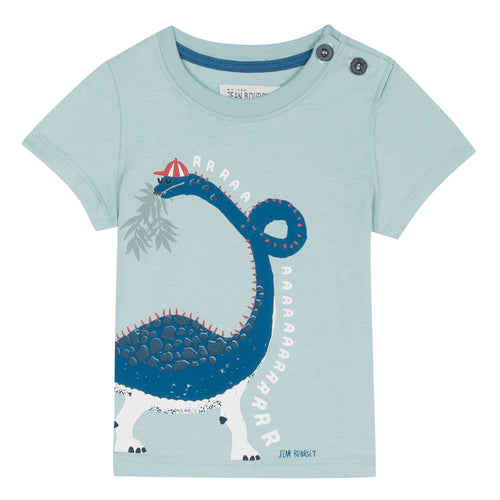 short-sleeved T-shirt in mint green cotton jersey is screen printed with a funny diplodocus wearing a striped cap deigned by Jean Bourget.