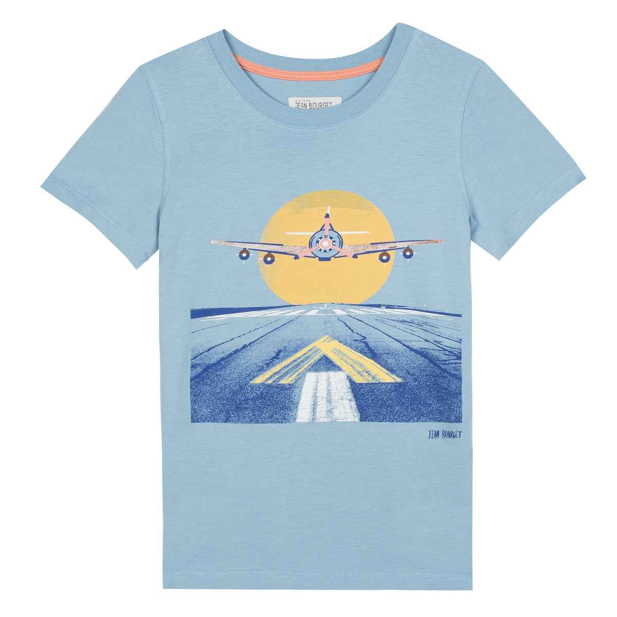 Fun and graphic, this short-sleeved tee-shirt in mint green cotton jersey is screen printed with a wave photo of an airplane getting ready for landing. Designed by Jean Bourget.