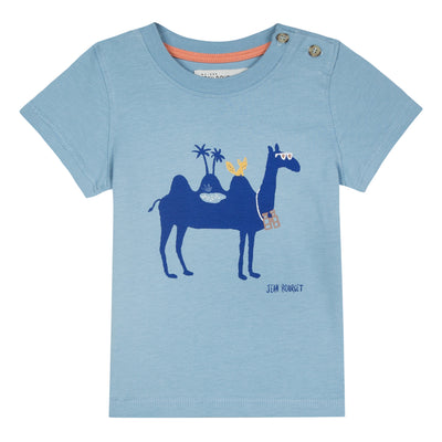 Blue cotton jersey t-shirt printed with a camel adorned with glasses on the front. Two buttons placed on the left shoulder. By Jean Bourget.