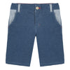 Jean Bourget blue cotton interlock bermuda has a very urban denim effect.
