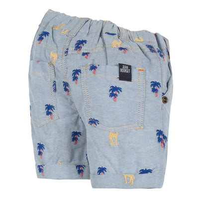 Jean Bourget light blue chambray bermuda shorts are embroidered with yell