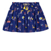 Jean Bourget skirt in ultramarine cotton crepe is printed with an exotic pattern in all over.