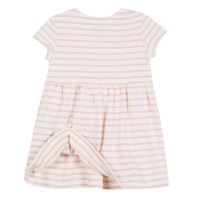 Tenderly striped with pale pink, this dress in heavy cotton jersey. Animated with folds on the skirt and a breast pocket, deigned by Jean Bourget.