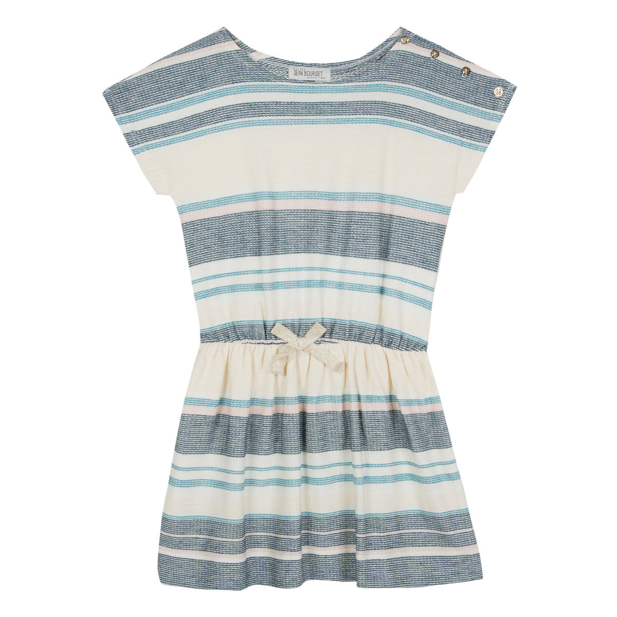 Ecru jacquard dress is striped with turquoise blue, pale pink and jade. Its fluid and light material is very flexible. The silhouette is bent by an elastic at the waist, enhanced by a golden lurex knot. By Jean Bourget.