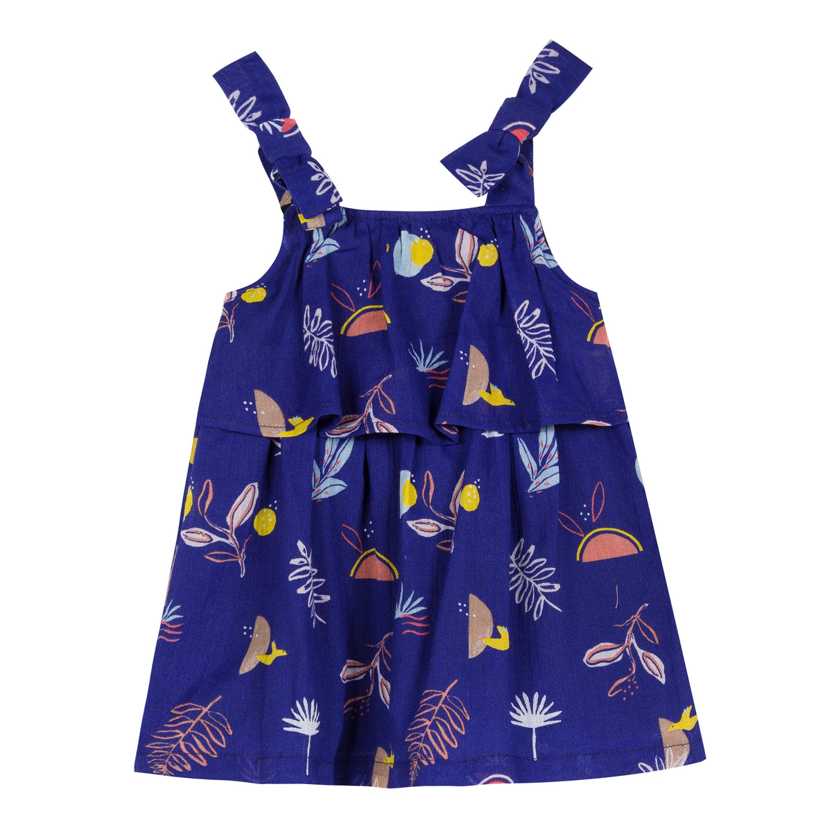 Ultramarine cotton-crepe dress is printed with a cheerful, exotic pattern of birds and tropical plants all over. Designed by Jean Bourget.