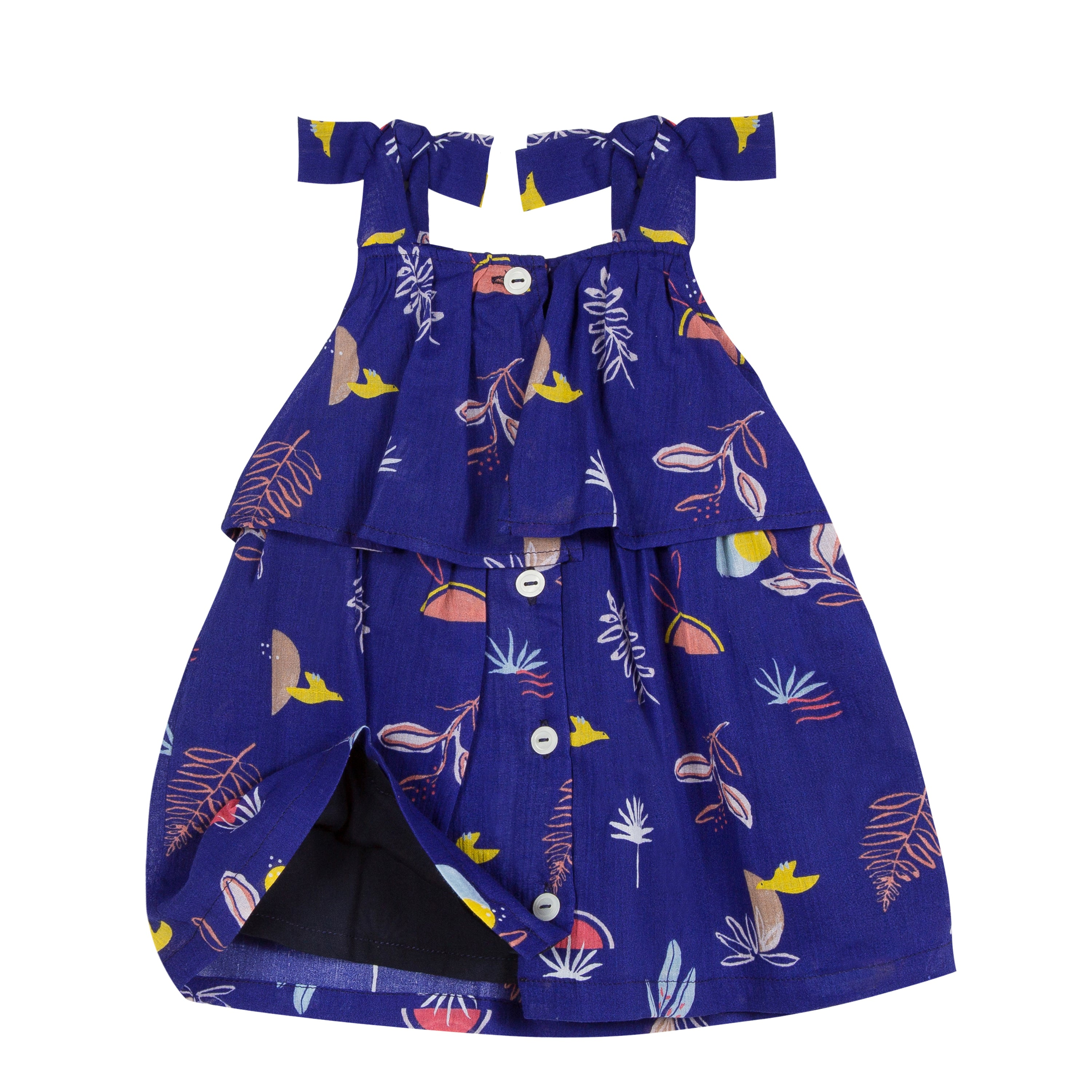 Baby & Toddler Girls Marine Printed Dress With Bows