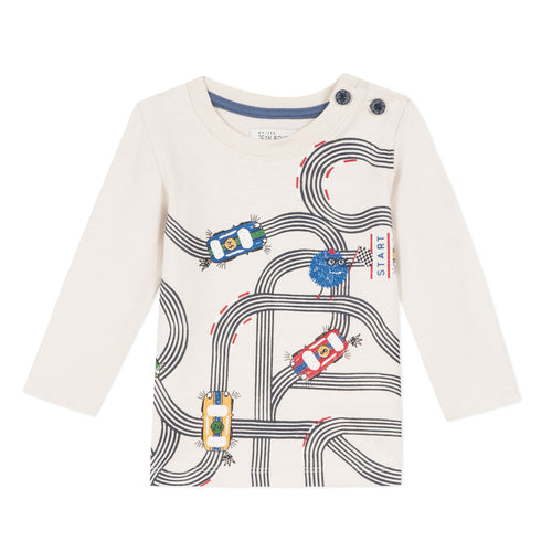 "Jean Bourget long-necked, round-necked, beige cotton jersey T-shirt is emblashed in an original ""Monster and Cars"" print."