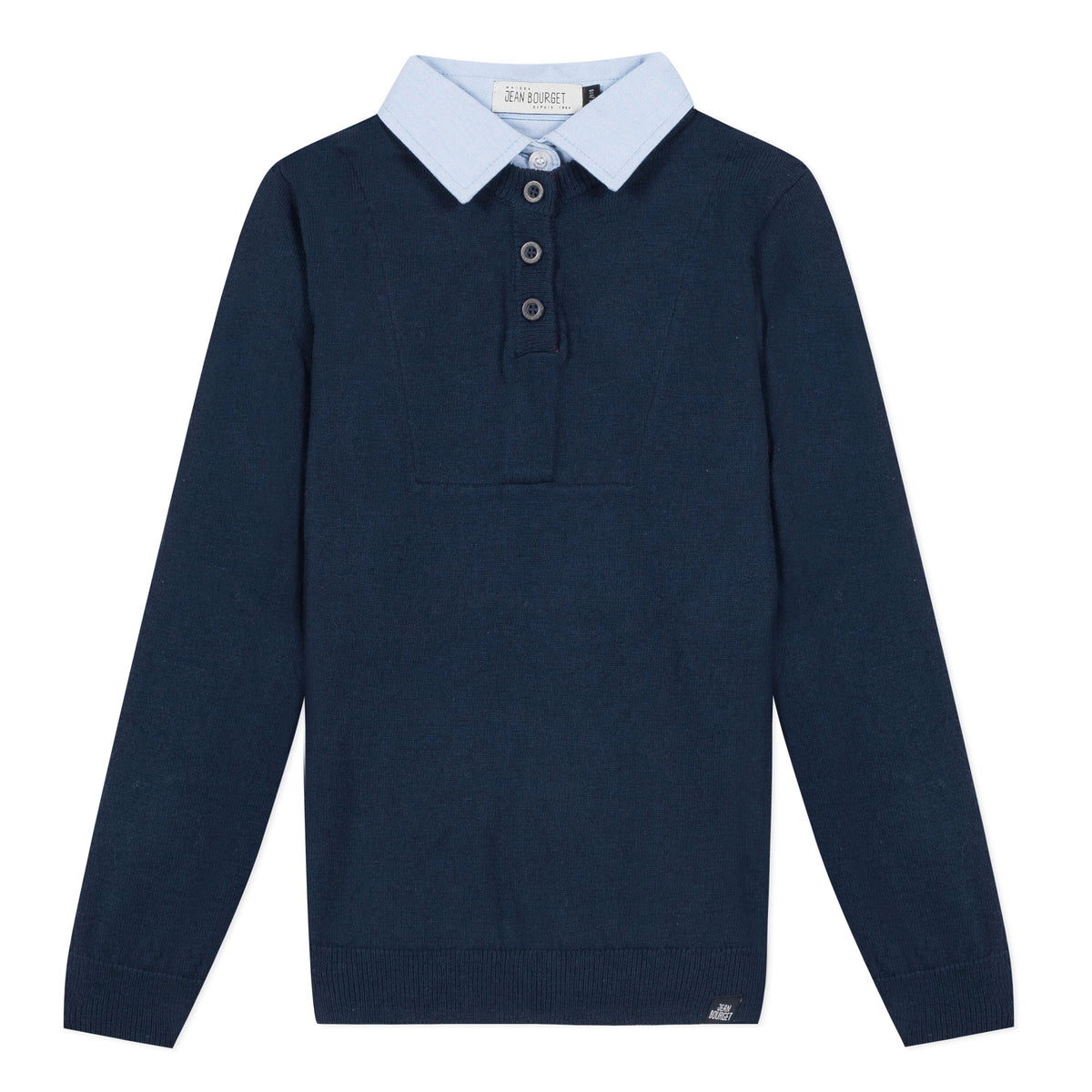 Classic revisited, this long-sleeved navy wool knit features a sky cotton shirt collar and burgundy seams. Three button closure marked Jean Bourget.