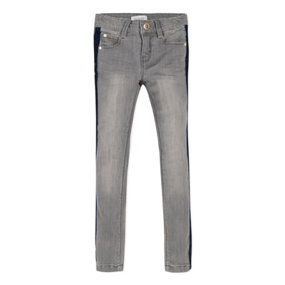 Jean Bourget classic dark grey striped denim pants near the body revisited with navy velvet