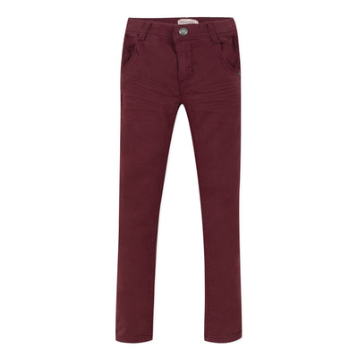 Jean Bourget denim-style knit trousers display a timeless and modern elegance with its camel color stitched with small black seams at the waist and its elastic waist.