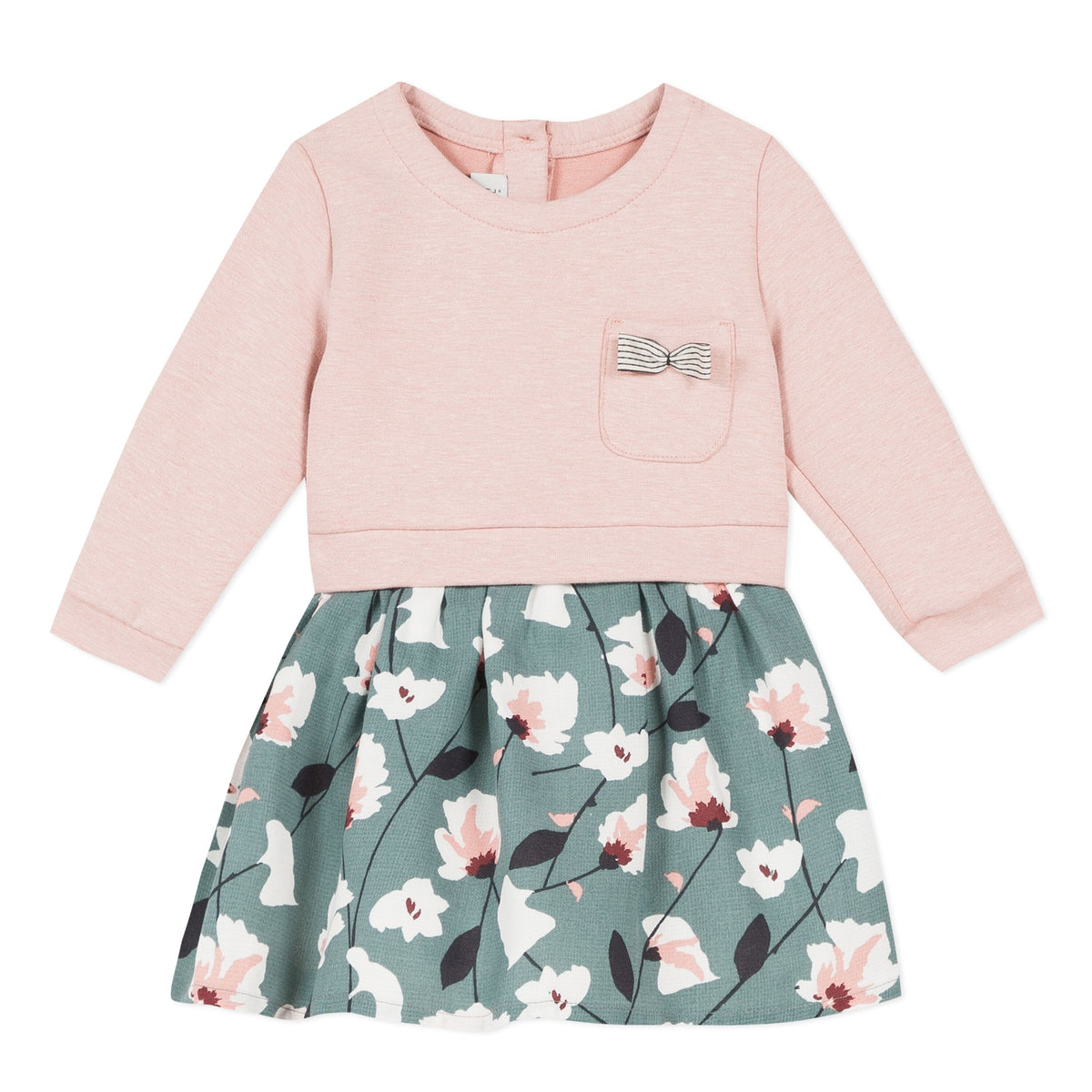 Jean Bourget baby girls dress featuring a rose colored top, floral bottom and a front accent pocket.