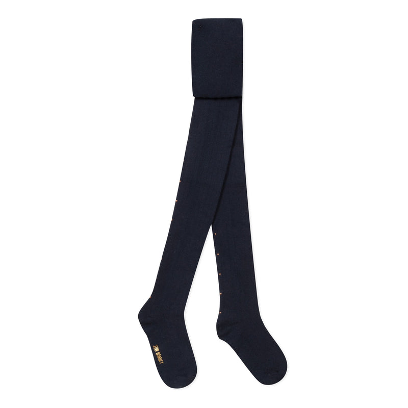 Girly and iconic, these navy knit tights are adorned with golden studs and Jean Bourget all-over style.