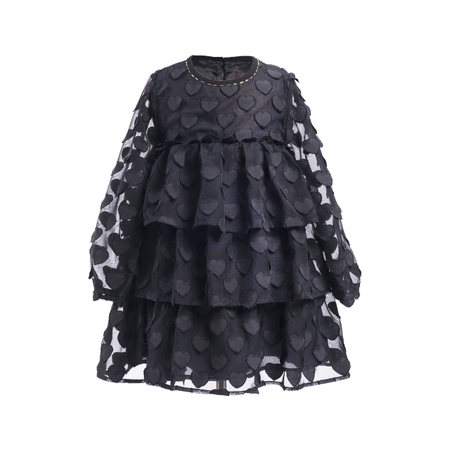 Black heart tiered chiffon A-line dress with an empire waist and ruffled appearance. Dress by Imoga.