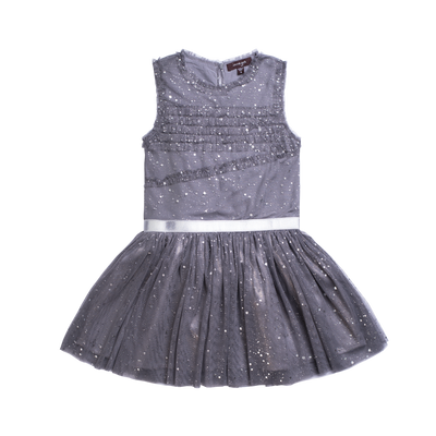 Little girls sleeveless grey party dress with a tutu skirt and shimmer throughout. A silver strap lines the waist for finished look. Dress made by Imoga.