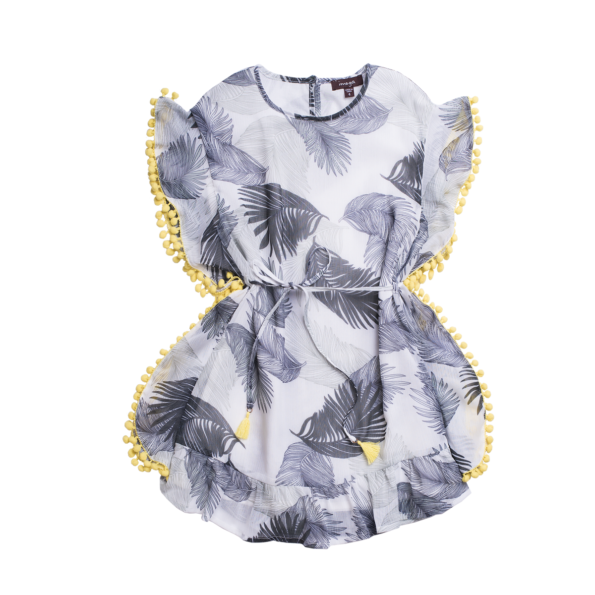 Grey sleeveless dress with feather designs all over and the sides are lined with yellow pom pom balls. By Imoga.
