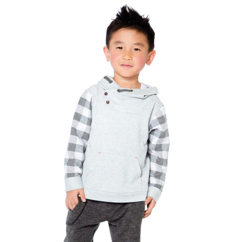 Boys Grey Plaid Sleeve Top