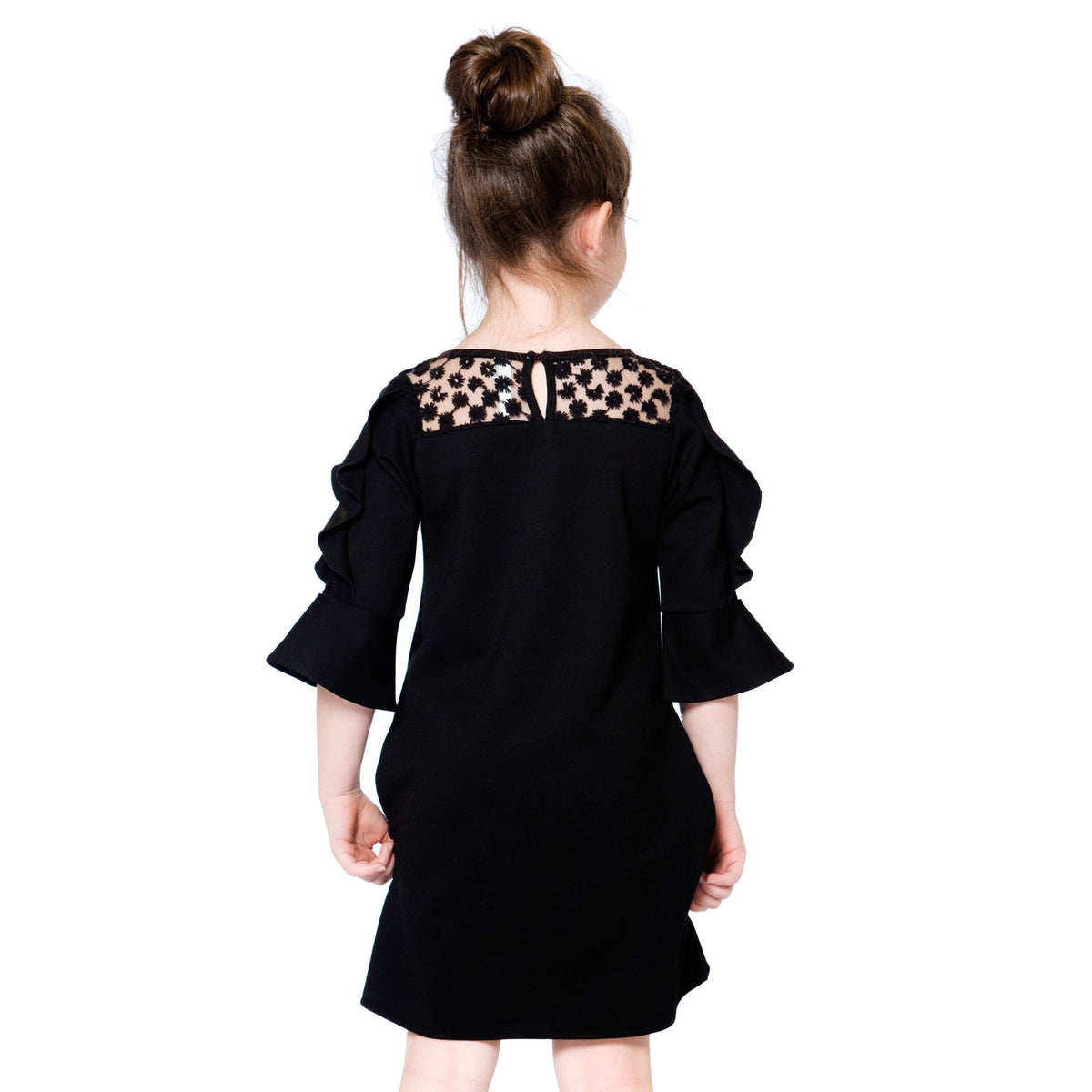 Girls Black Milano And Lace Dress