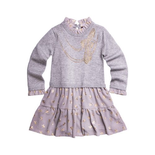 Girls chiffon sweater dress with gold bows decorating the skirt and rhinestone necklace print on the front. Dress is designed by girls designer Imoga.
