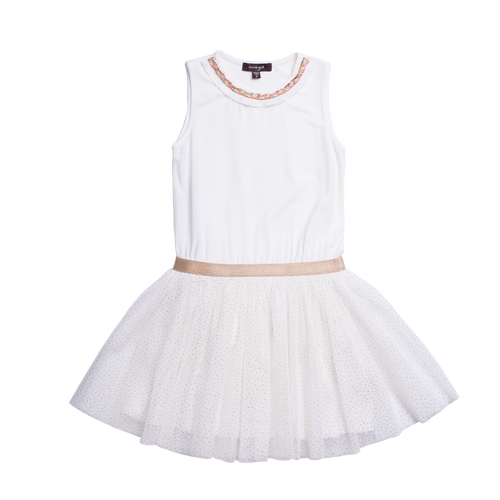 White ballerina tulle dress for girls. This dress has shimmer decorating the bottom and embellishment around the neckline. By Imoga.