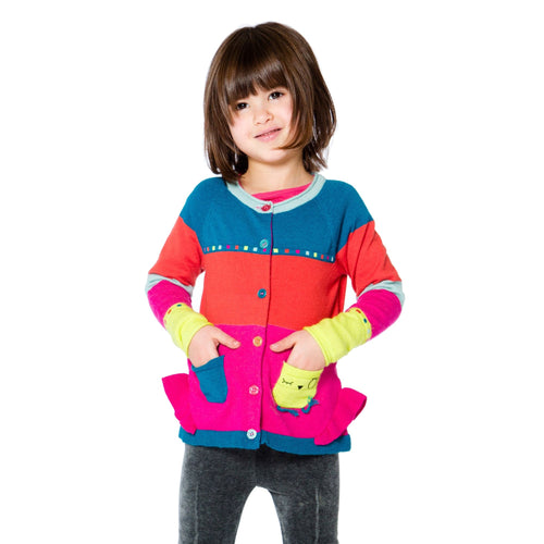 Girls Owl Knit Cardigan