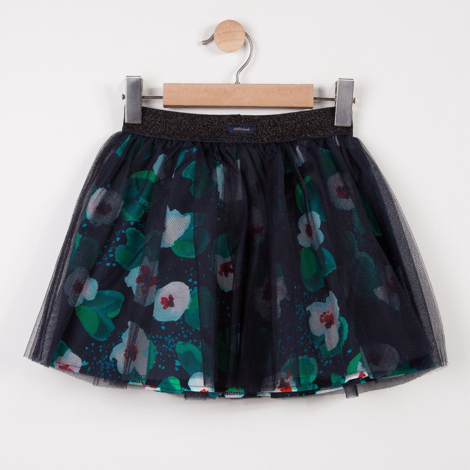 Girls Floral Printed Tule Tutu Skirt