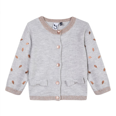 Baby & Toddler Girls Beige Knit Cardigan With Bows