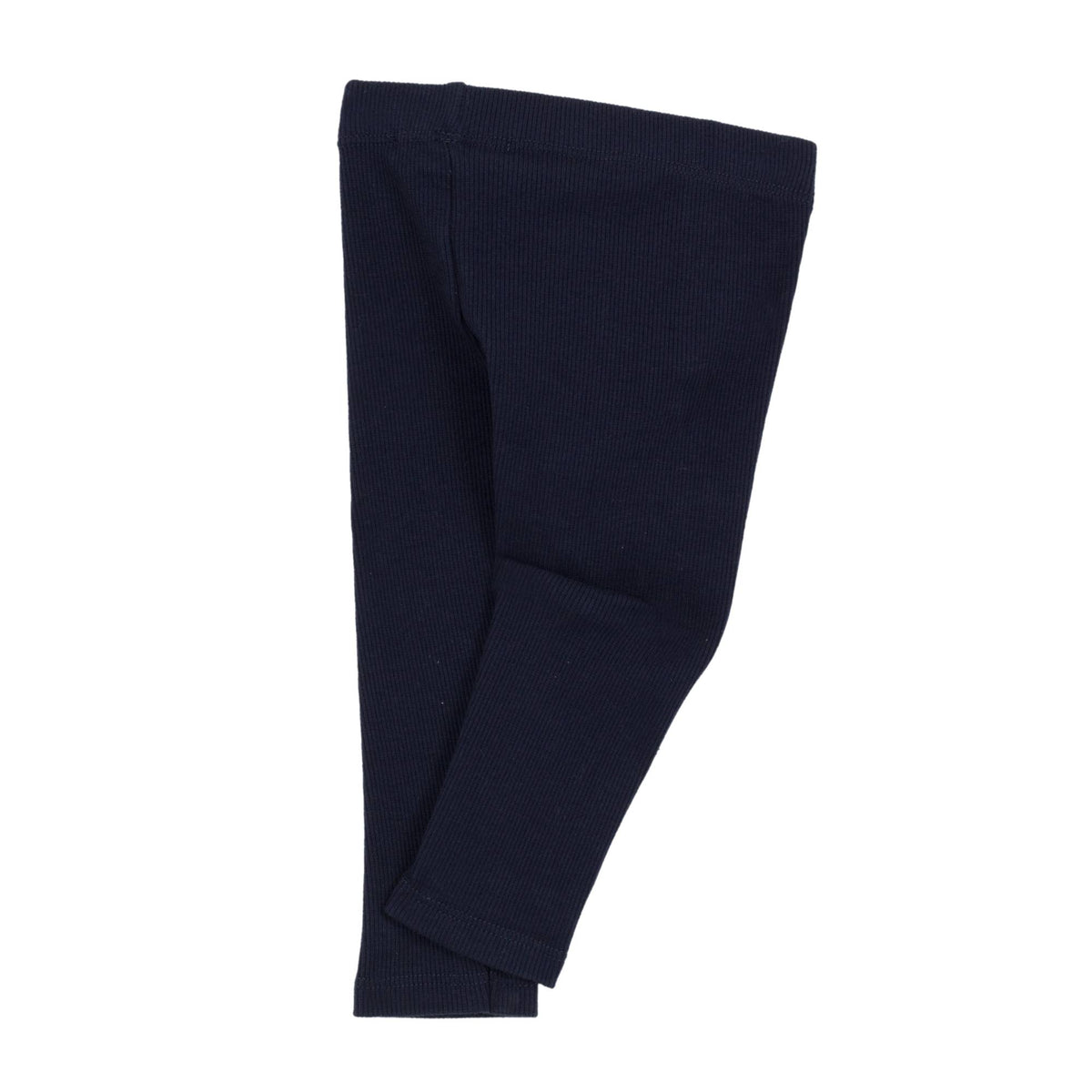 Jean Bourgert navy blue cotton leggings is punctuated by fine ribs and large ivory ribbon at the waist.