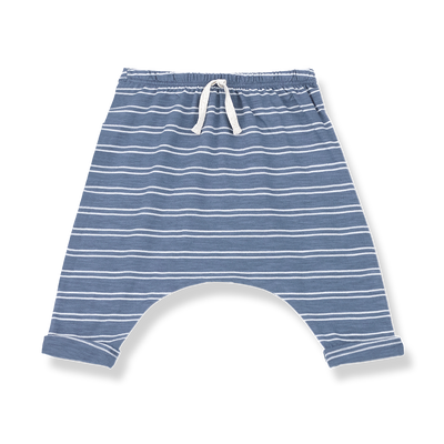 1+ In The Family baby boy indigo and white striped cotton jersey pants with drawstring at the front.