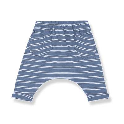1+ In The Family baby boy indigo and white striped cotton jersey pants with two back pockets.