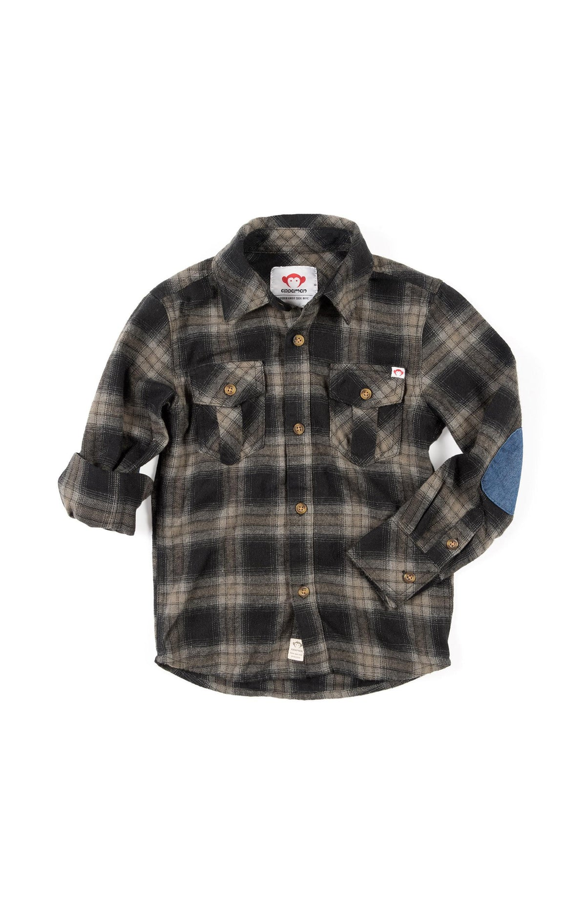 Boys Vintage Black Flannel Shirt