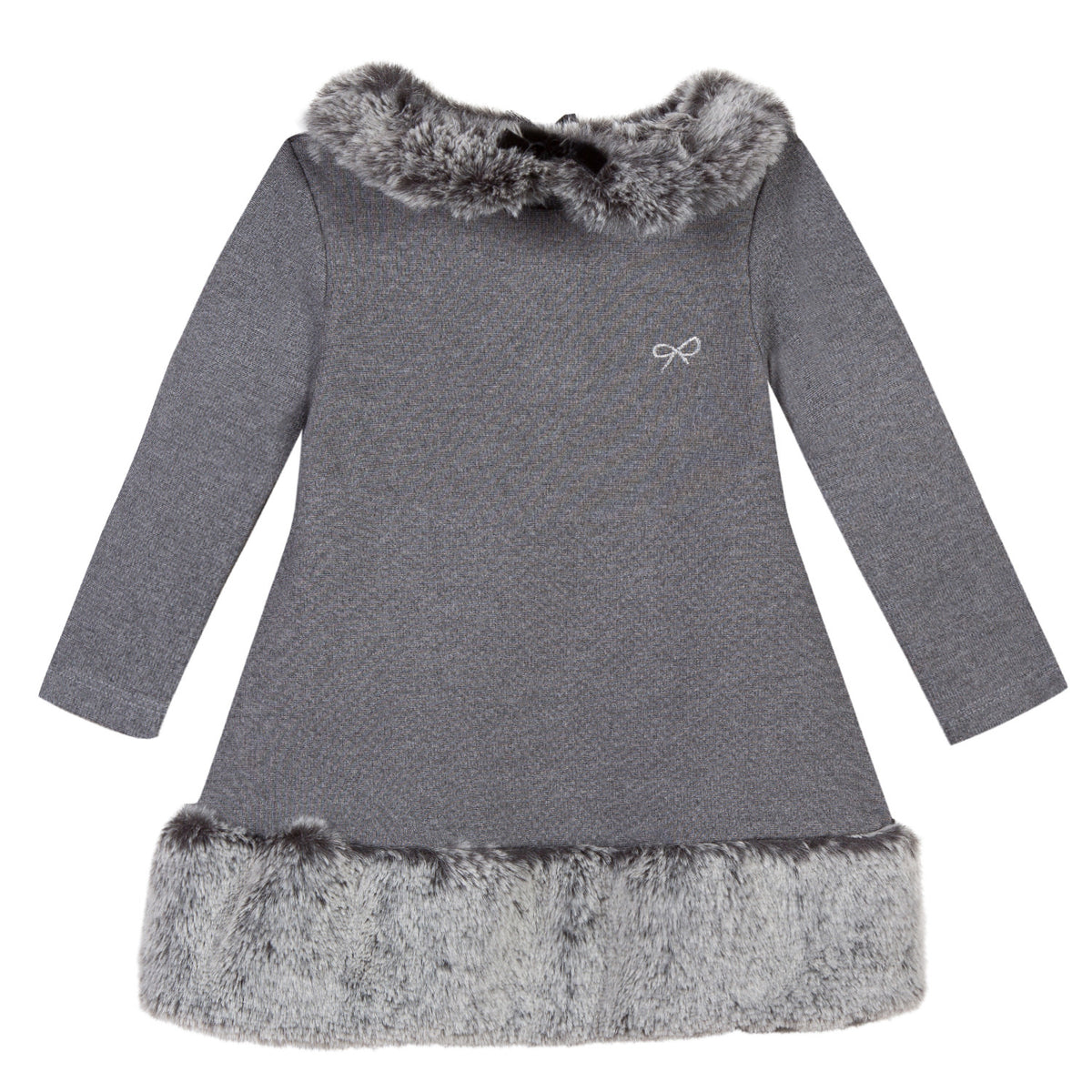 Baby & Toddler Girls Grey Faux Fur Collar Dress