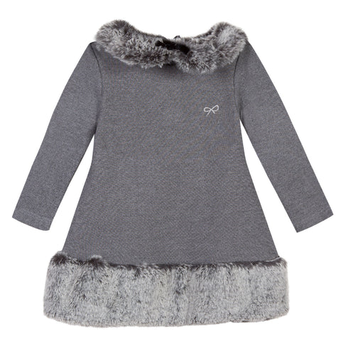 Girls Grey Print Long Sleeve Dress