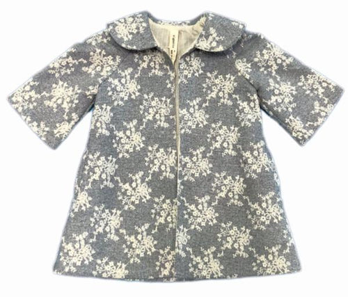 100% cotton winter coat with snowflake embroidery in the color frost. Shop Vignette collection.
