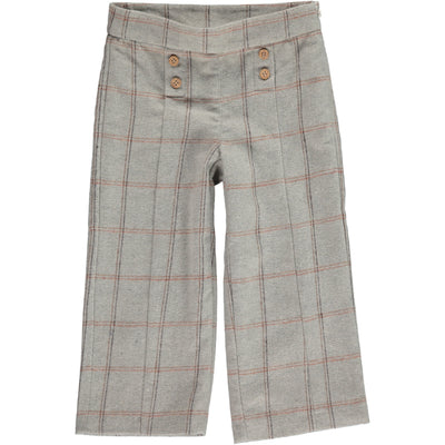 Girls 100% cotton plaid trousers with buttons on the front by Vignette.